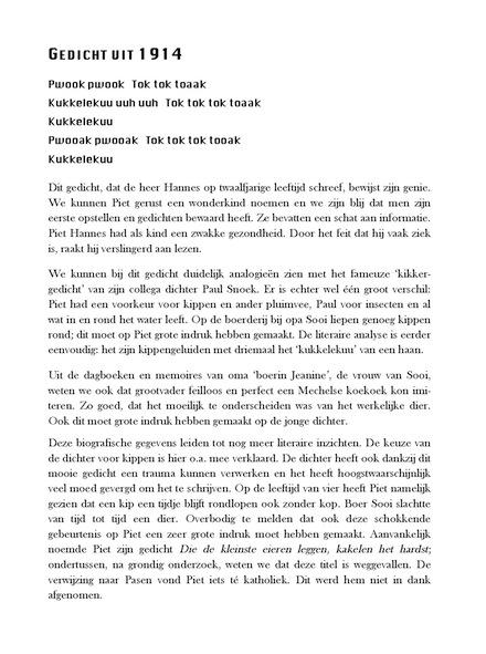 Bloemlezing uit de gedichten van Piet Hannes, fragment
